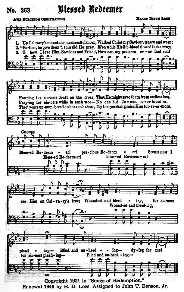 Lyric blessed redeemer lyrics : Gospel Hymns Alphabetical Index
